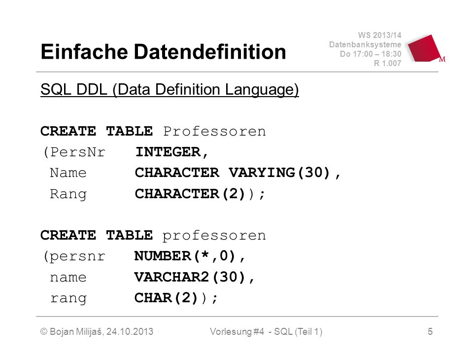 WS 2013/14 Datenbanksysteme Do 17:00 – 18:30 R 1.007 © Bojan Milijaš, 24.10.2013Vorlesung #4 - SQL (Teil 1)5 Einfache Datendefinition SQL DDL (Data Definition Language) CREATE TABLE Professoren (PersNrINTEGER, Name CHARACTER VARYING(30), RangCHARACTER(2)); CREATE TABLE professoren (persnr NUMBER(*,0), name VARCHAR2(30), rang CHAR(2));