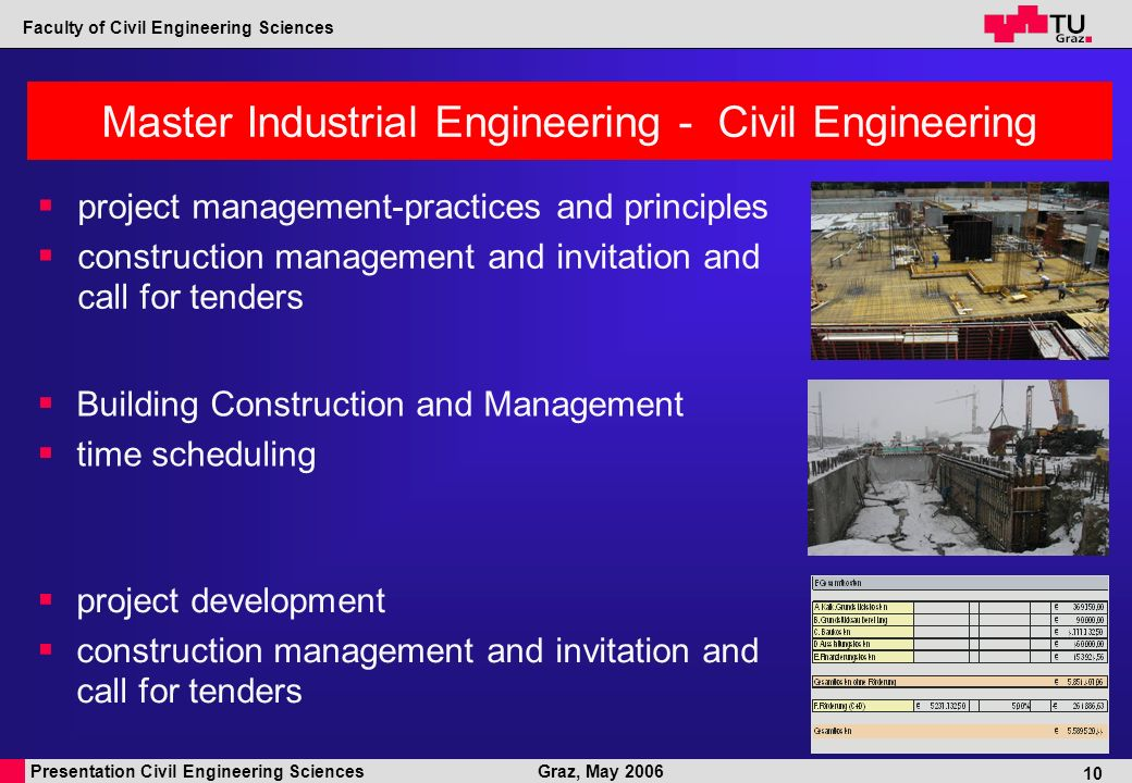 Presentation Civil Engineering Sciences Faculty of Civil Engineering Sciences Graz, May 2006 10 Master Industrial Engineering - Civil Engineering project management-practices and principles construction management and invitation and call for tenders project development construction management and invitation and call for tenders Building Construction and Management time scheduling