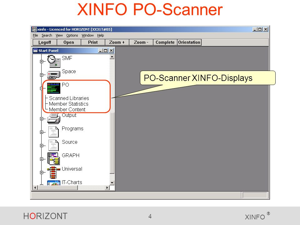HORIZONT 4 XINFO ® XINFO PO-Scanner PO-Scanner XINFO-Displays