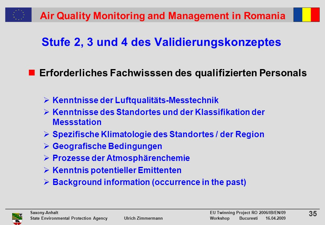 35 Saxony-Anhalt EU Twinning Project RO 2006/IB/EN/09 State Environmental Protection Agency Ulrich ZimmermannWorkshop Bucuresti 16.04.2009 Air Quality Monitoring and Management in Romania Stufe 2, 3 und 4 des Validierungskonzeptes Erforderliches Fachwisssen des qualifizierten Personals Kenntnisse der Luftqualitäts-Messtechnik Kenntnisse des Standortes und der Klassifikation der Messstation Spezifische Klimatologie des Standortes / der Region Geografische Bedingungen Prozesse der Atmosphärenchemie Kenntnis potentieller Emittenten Background information (occurrence in the past)