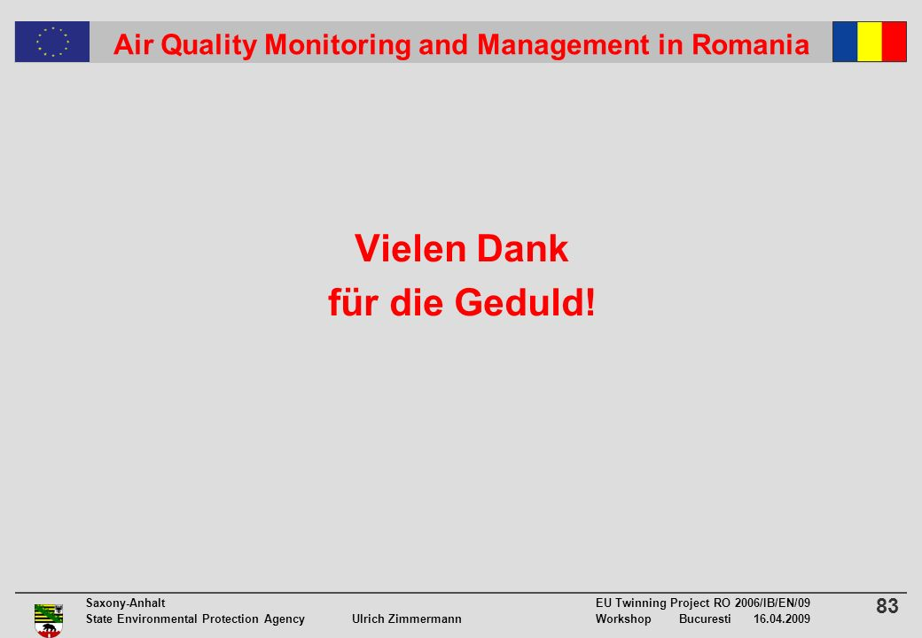 83 Saxony-Anhalt EU Twinning Project RO 2006/IB/EN/09 State Environmental Protection Agency Ulrich ZimmermannWorkshop Bucuresti 16.04.2009 Air Quality Monitoring and Management in Romania Vielen Dank für die Geduld!