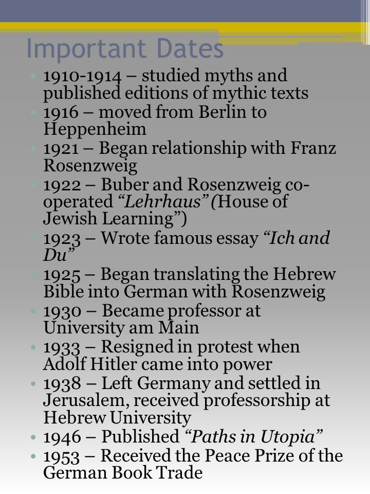Important Dates 1910-1914 – studied myths and published editions of mythic texts 1916 – moved from Berlin to Heppenheim 1921 – Began relationship with Franz Rosenzweig 1922 – Buber and Rosenzweig co- operated Lehrhaus (House of Jewish Learning) 1923 – Wrote famous essay Ich and Du 1925 – Began translating the Hebrew Bible into German with Rosenzweig 1930 – Became professor at University am Main 1933 – Resigned in protest when Adolf Hitler came into power 1938 – Left Germany and settled in Jerusalem, received professorship at Hebrew University 1946 – Published Paths in Utopia 1953 – Received the Peace Prize of the German Book Trade