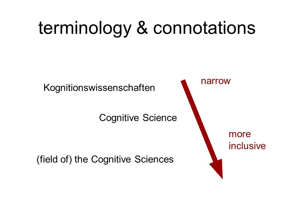 terminology & connotations Kognitionswissenschaften Cognitive Science (field of) the Cognitive Sciences narrow more inclusive