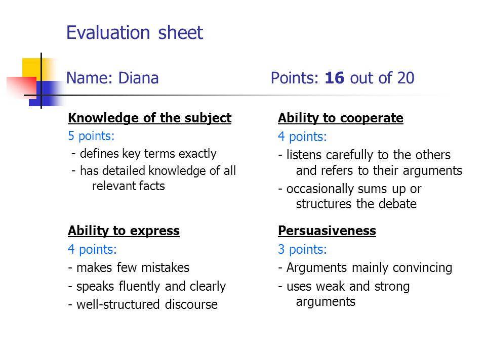 Evaluation sheet Name: Diana Points: 16 out of 20 Knowledge of the subject 5 points: - defines key terms exactly - has detailed knowledge of all relevant facts Ability to cooperate 4 points: - listens carefully to the others and refers to their arguments - occasionally sums up or structures the debate Ability to express 4 points: - makes few mistakes - speaks fluently and clearly - well-structured discourse Persuasiveness 3 points: - Arguments mainly convincing - uses weak and strong arguments