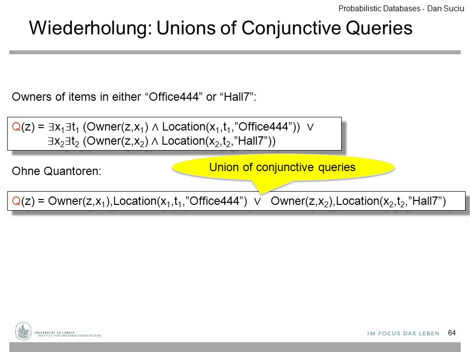 Wiederholung: Unions of Conjunctive Queries 64 Q(z) = ∃ x 1 ∃ t 1 (Owner(z,x 1 ) ∧ Location(x 1,t 1, Office444 )) ∨ ∃ x 2 ∃ t 2 (Owner(z,x 2 ) ∧ Location(x 2,t 2, Hall7 )) Q(z) = Owner(z,x 1 ),Location(x 1,t 1, Office444 ) ∨ Owner(z,x 2 ),Location(x 2,t 2, Hall7 ) Ohne Quantoren: Owners of items in either Office444 or Hall7 : Union of conjunctive queries Probabilistic Databases - Dan Suciu