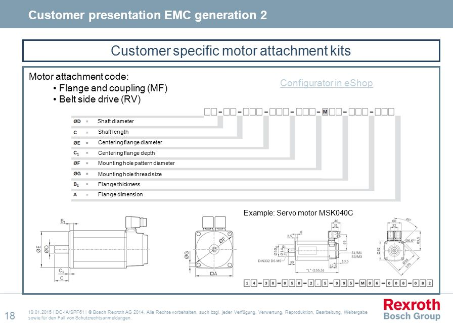 Customer specific motor attachment kits 19.01.2015 | DC-IA/SPF61 | © Bosch Rexroth AG 2014.