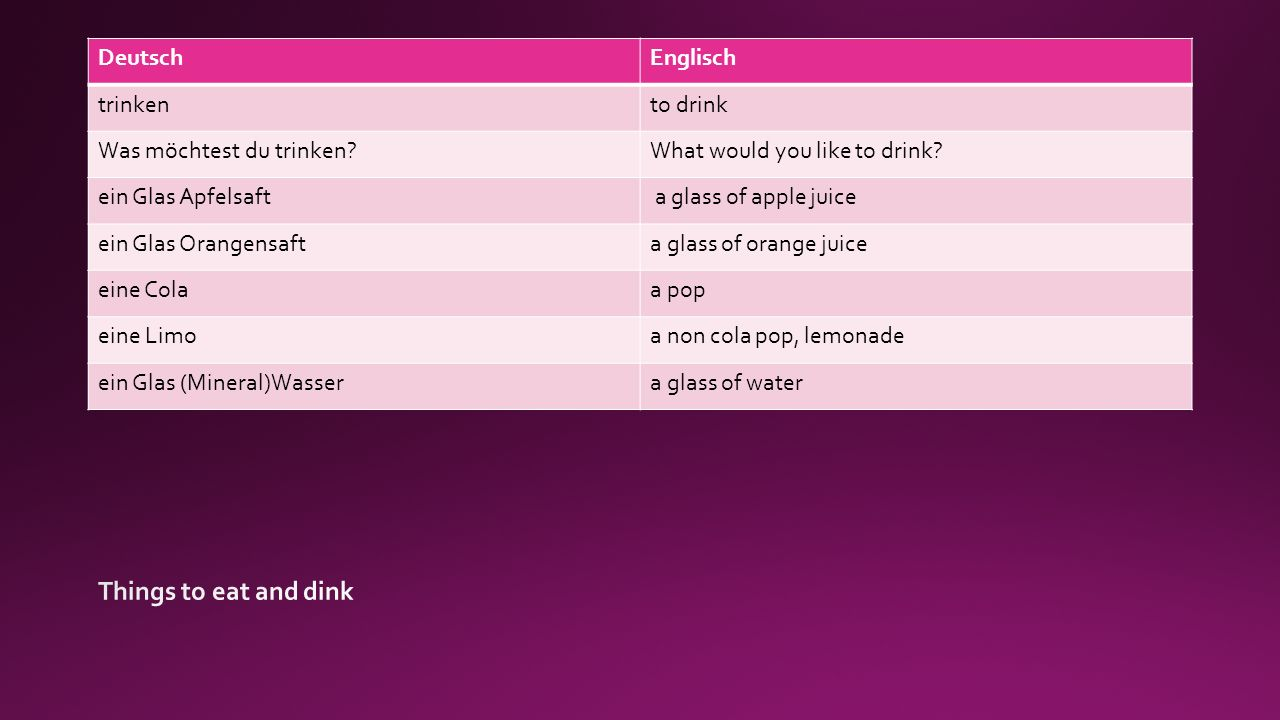 DeutschEnglisch trinkento drink Was möchtest du trinken What would you like to drink.