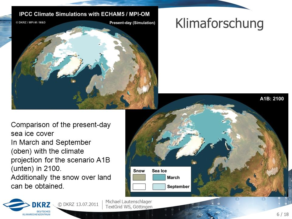 © DKRZ Klimaforschung 13.07.2011 Michael Lautenschlager TextGrid WS, Göttingen Comparison of the present-day sea ice cover In March and September (oben) with the climate projection for the scenario A1B (unten) in 2100.