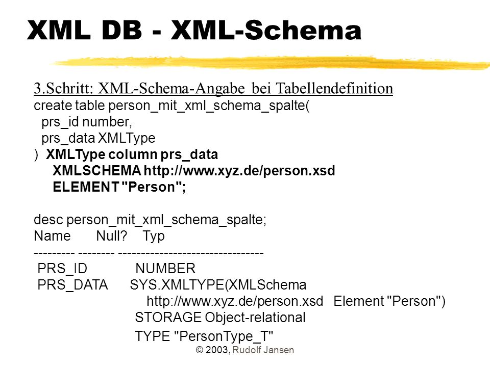 © 2003, Rudolf Jansen XML DB - XML-Schema 3.Schritt: XML-Schema-Angabe bei Tabellendefinition create table person_mit_xml_schema_spalte( prs_id number, prs_data XMLType ) XMLType column prs_data XMLSCHEMA http://www.xyz.de/person.xsd ELEMENT Person ; desc person_mit_xml_schema_spalte; Name Null.