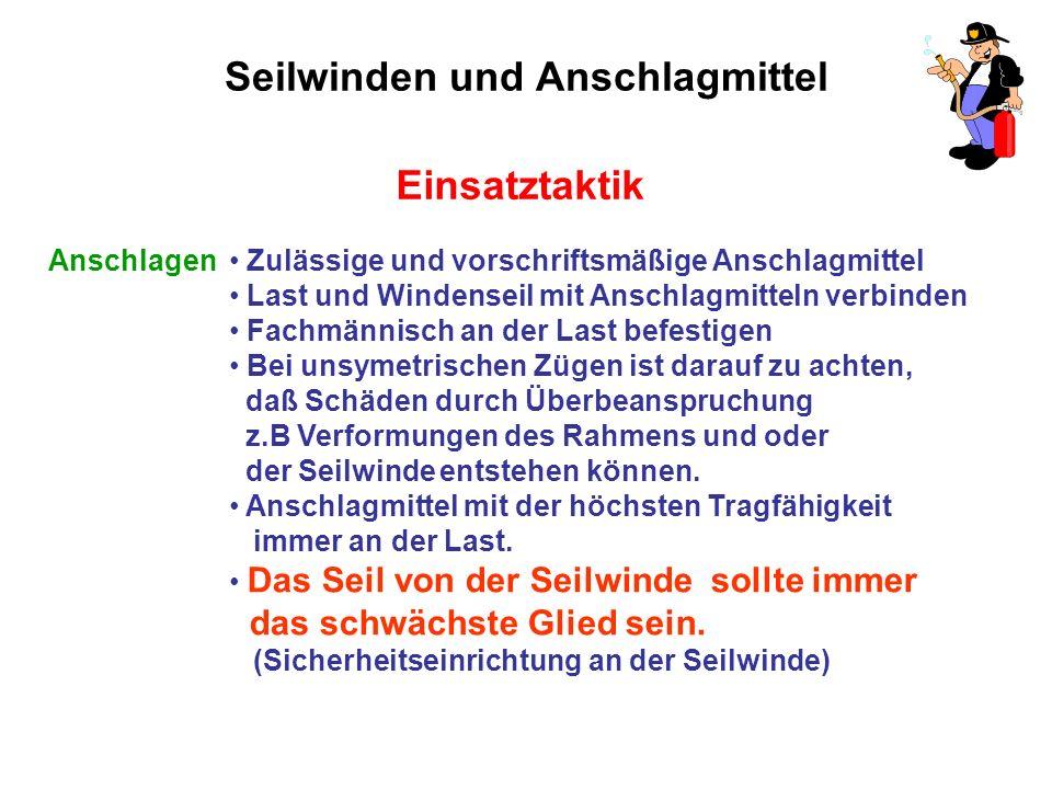 FF - Gänserndorf Seilwinden und Anschlagmittel. Einsatztaktik ...
