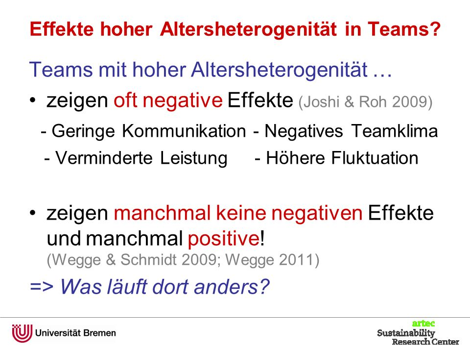 Effekte hoher Altersheterogenität in Teams.