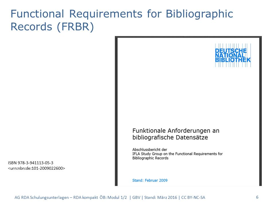 6 Functional Requirements for Bibliographic Records (FRBR) ISBN 978-3-941113-05-3 AG RDA Schulungsunterlagen – RDA kompakt ÖB: Modul 1/2 | GBV | Stand: März 2016 | CC BY-NC-SA