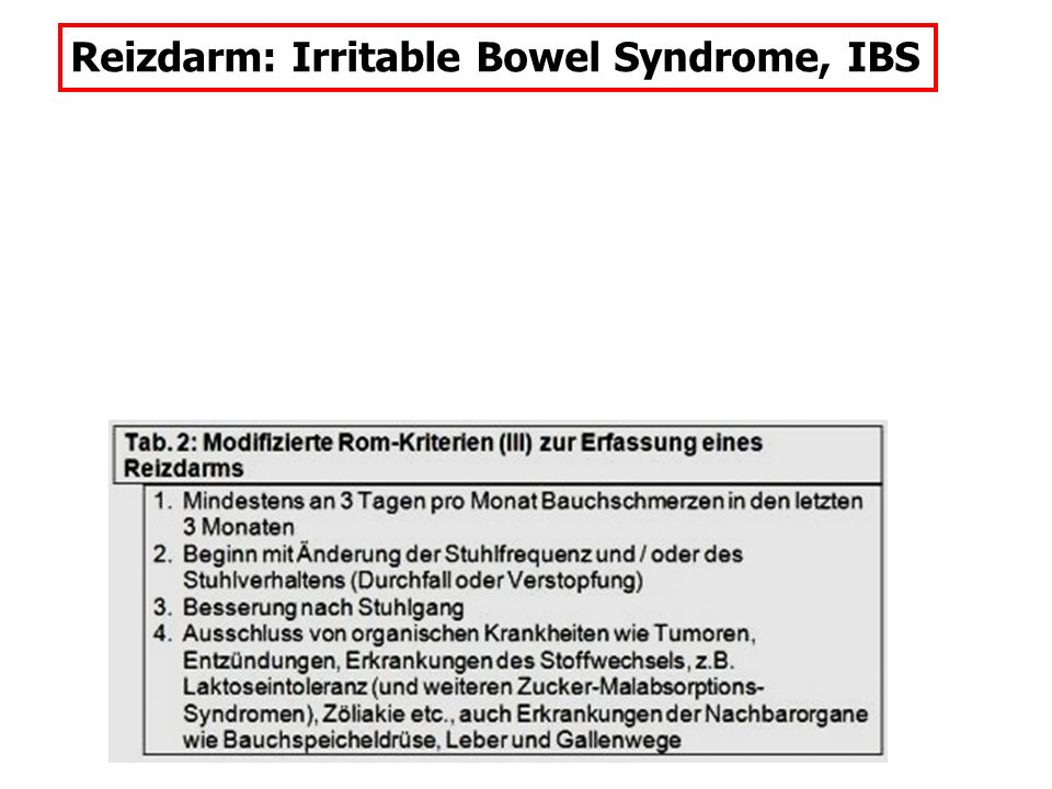 Reizdarm: Irritable Bowel Syndrome, IBS