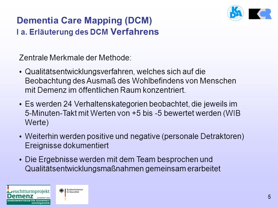 5 Dementia Care Mapping (DCM) I a.