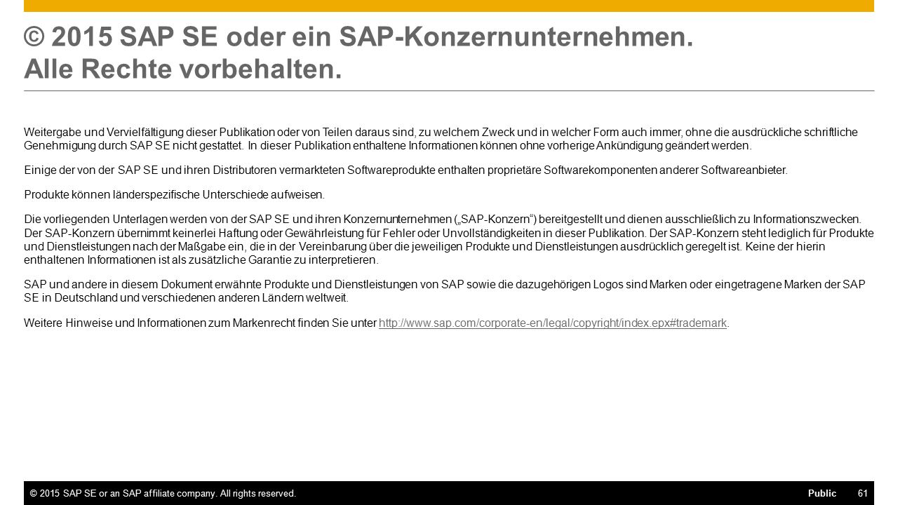 61©2015 SAP SE or an SAP affiliate company.