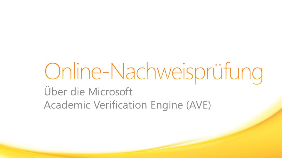 Über die Microsoft Academic Verification Engine (AVE)