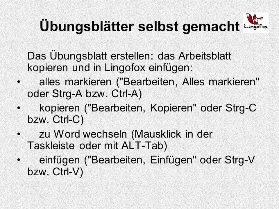 Übungsblätter selbst gemacht Lingofox ist ein Übungsgenerator mit ...