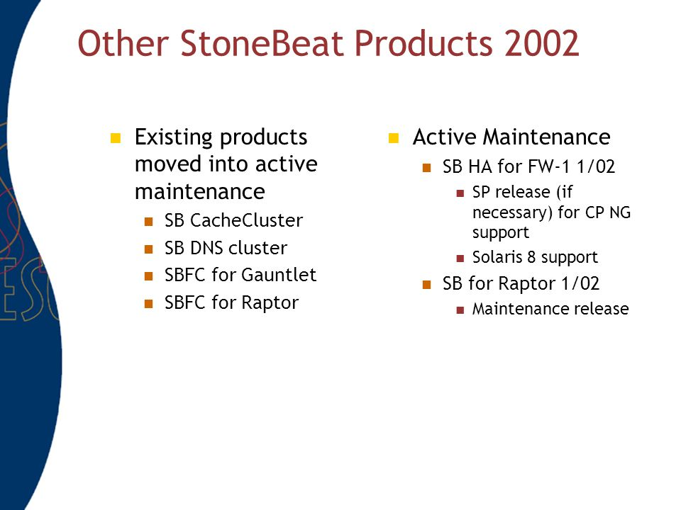 Other StoneBeat Products 2002 Existing products moved into active maintenance SB CacheCluster SB DNS cluster SBFC for Gauntlet SBFC for Raptor Active Maintenance SB HA for FW-1 1/02 SP release (if necessary) for CP NG support Solaris 8 support SB for Raptor 1/02 Maintenance release