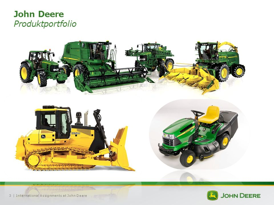 | International Assignments at John Deere3 John Deere Produktportfolio