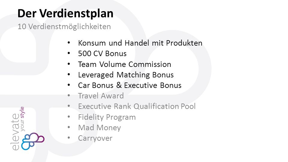 Konsum und Handel mit Produkten 500 CV Bonus Team Volume Commission Leveraged Matching Bonus Car Bonus & Executive Bonus Travel Award Executive Rank Qualification Pool Fidelity Program Mad Money Carryover Der Verdienstplan 10 Verdienstmöglichkeiten