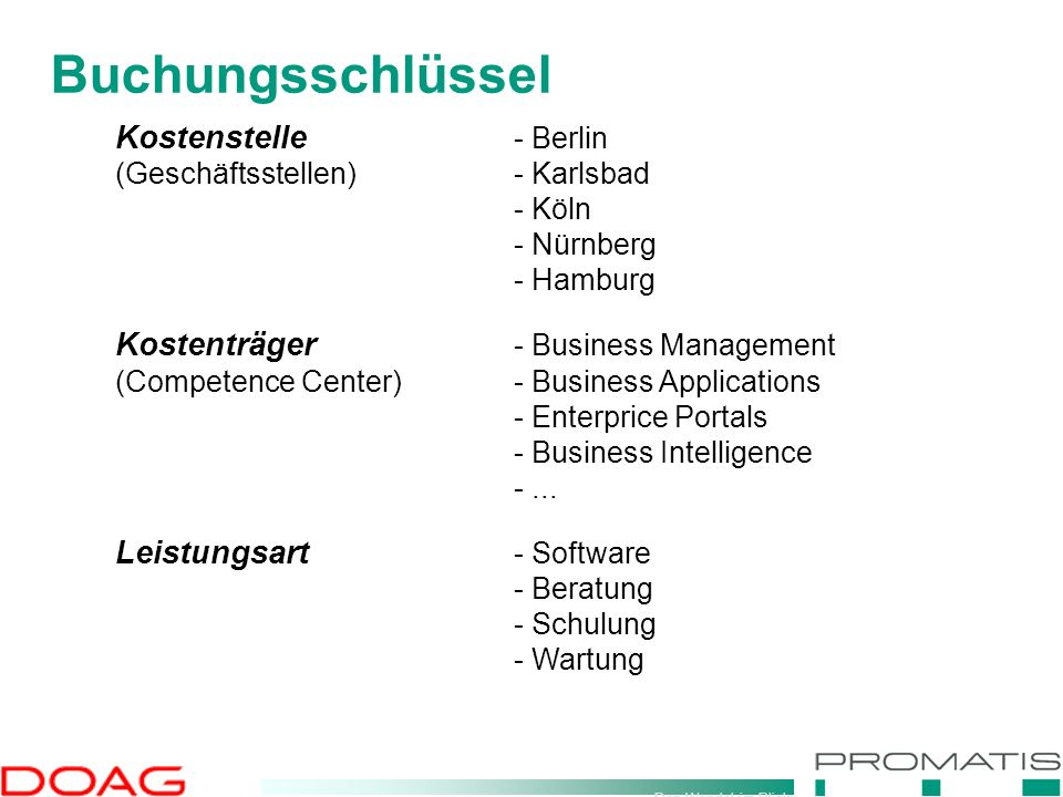 Den Wandel im Blick Buchungsschlüssel Kostenstelle - Berlin (Geschäftsstellen)- Karlsbad - Köln - Nürnberg - Hamburg Kostenträger - Business Management (Competence Center)- Business Applications - Enterprice Portals - Business Intelligence -...