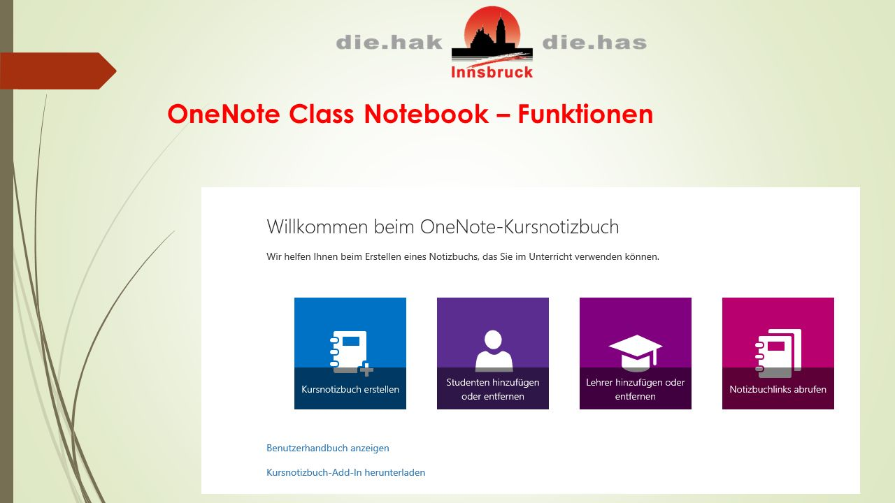 OneNote Class Notebook – Funktionen