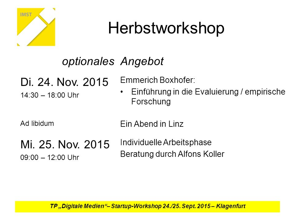 Herbstworkshop optionalesAngebot Di. 24. Nov.
