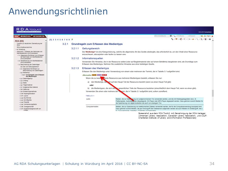 Anwendungsrichtlinien AG RDA Schulungsunterlagen | Schulung in Würzburg im April 2016 | CC BY-NC-SA Screenshot aus dem RDA Toolkit mit Genehmigung der RDA-Verleger (American Library Association, Canadian Library Association, und CILIP: Chartered Institute of Library and Information Professionals) 34