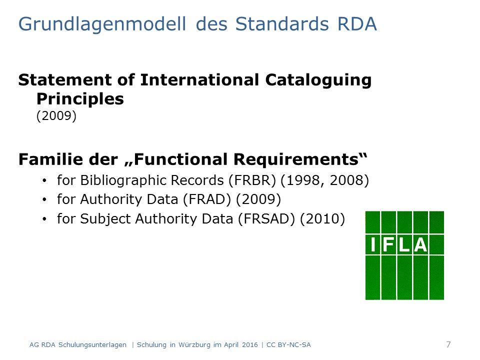 "Grundlagenmodell des Standards RDA Statement of International Cataloguing Principles (2009) Familie der ""Functional Requirements for Bibliographic Records (FRBR) (1998, 2008) for Authority Data (FRAD) (2009) for Subject Authority Data (FRSAD) (2010) AG RDA Schulungsunterlagen 