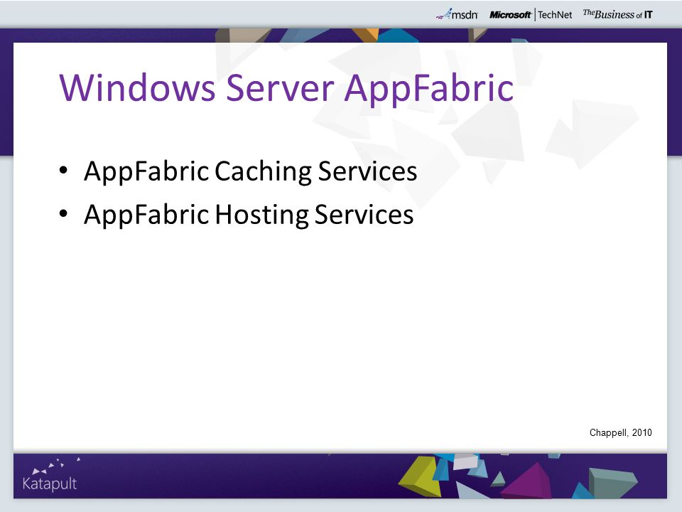 AppFabric Caching Services AppFabric Hosting Services Windows Server AppFabric Chappell, 2010