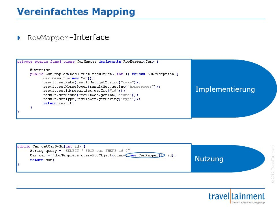 © 2012 TravelTainment Vereinfachtes Mapping  RowMapper- Interface Implementierung Nutzung