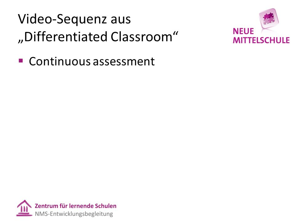 "Video-Sequenz aus ""Differentiated Classroom  Continuous assessment"