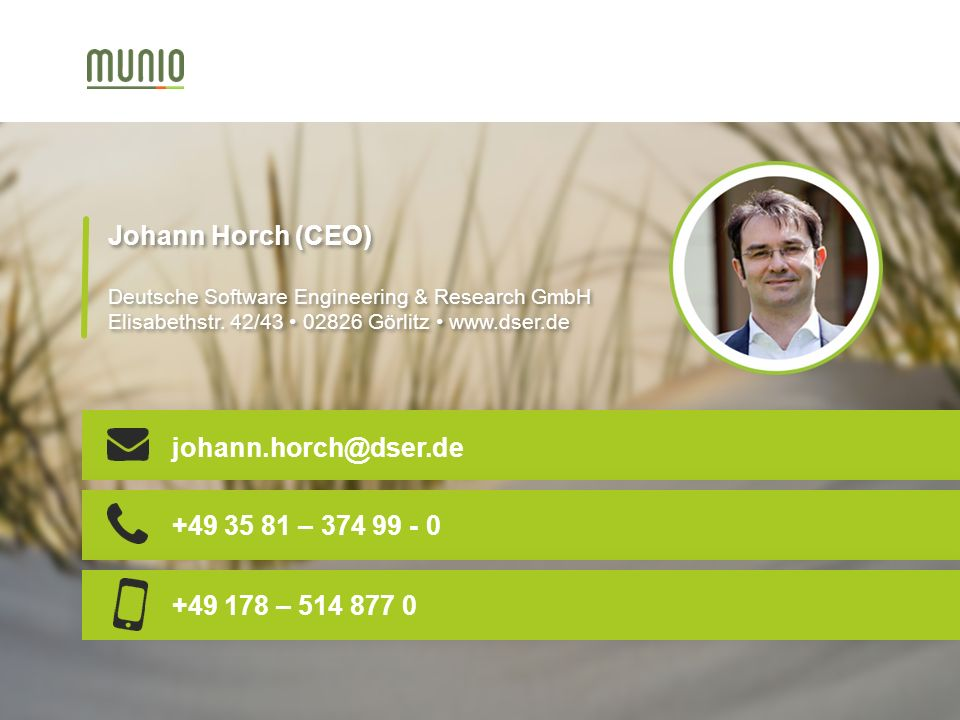 Johann Horch (CEO) Deutsche Software Engineering & Research GmbH Elisabethstr.
