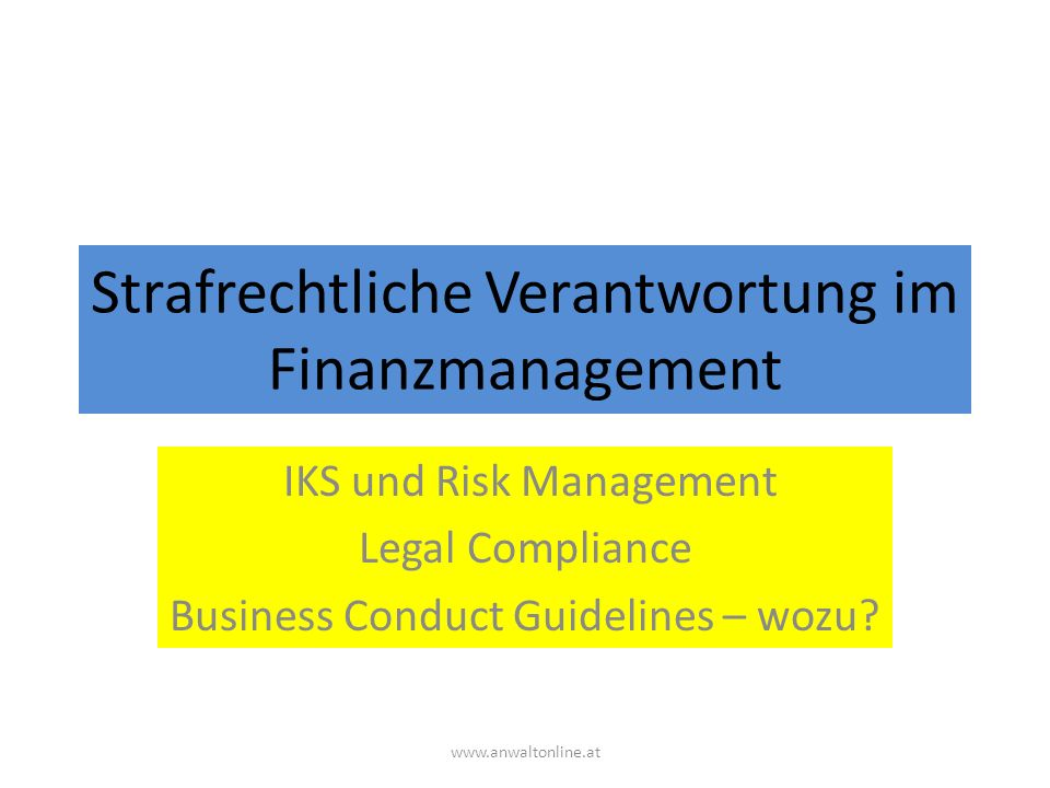 Strafrechtliche Verantwortung im Finanzmanagement IKS und Risk Management Legal Compliance Business Conduct Guidelines – wozu.