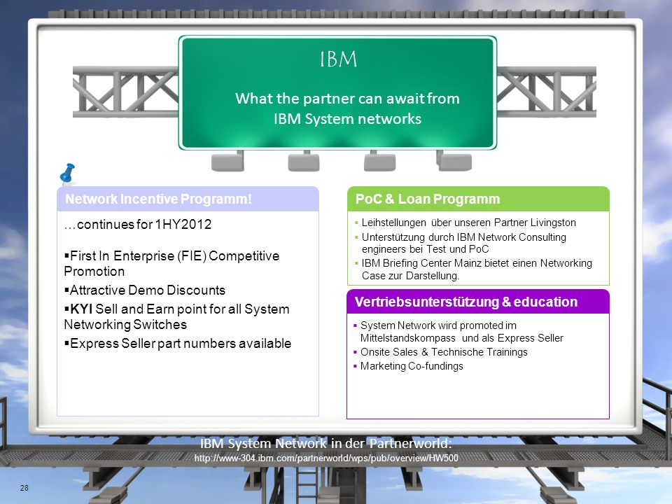 What the partner can await from IBM System networks IBM Network Incentive Programm.