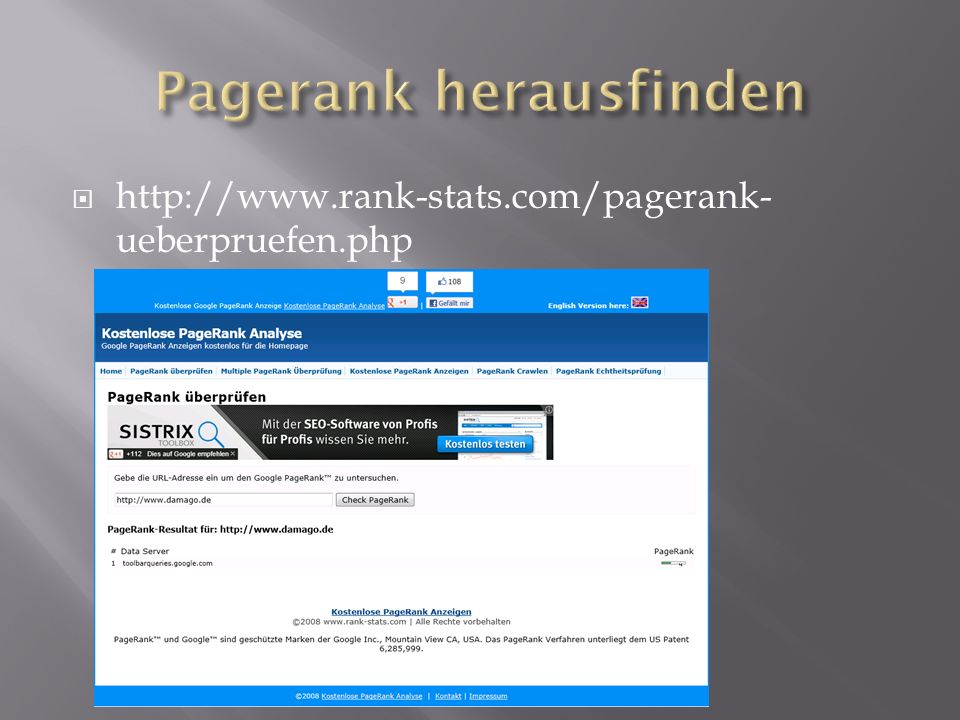  http://www.rank-stats.com/pagerank- ueberpruefen.php