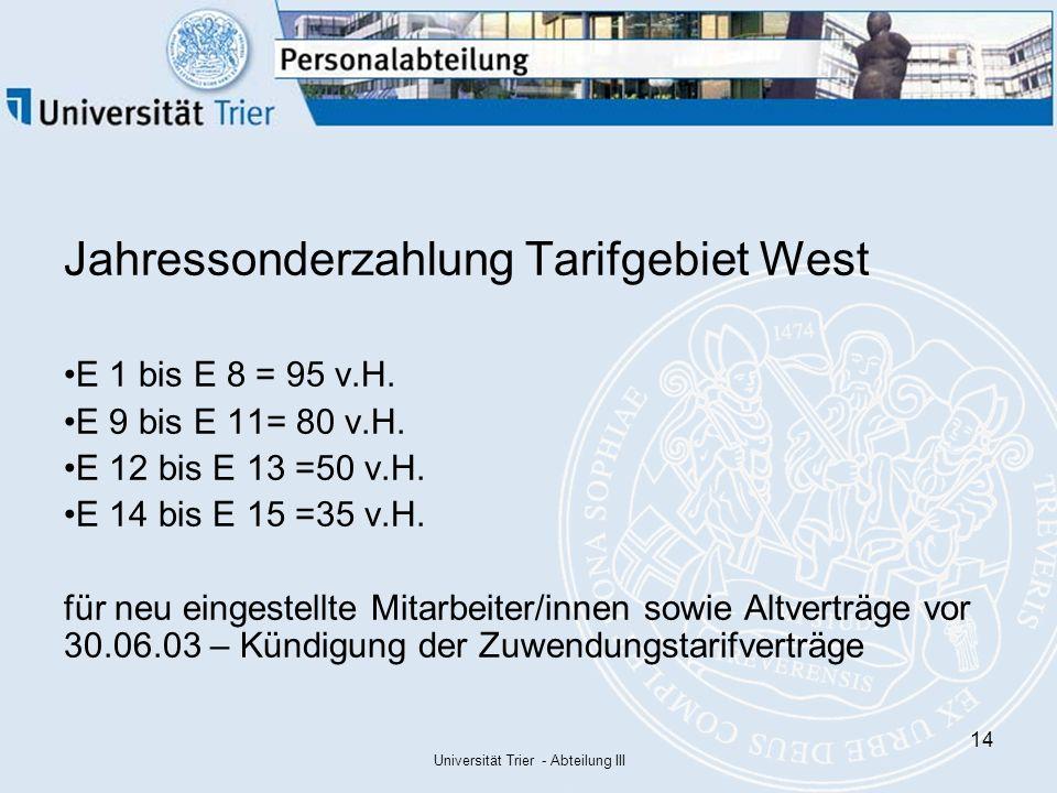 Universität Trier Abteilung Iii1 Das Neue Tarifrecht Ab Tv L