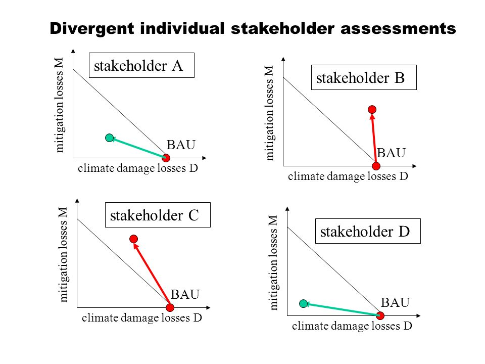 climate damage losses D mitigation losses M BAU climate damage losses D mitigation losses M BAU climate damage losses D mitigation losses M BAU climate damage losses D mitigation losses M BAU stakeholder A stakeholder B stakeholder C stakeholder D Divergent individual stakeholder assessments