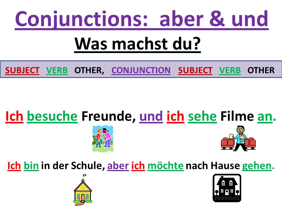 Conjunctions: aber & und SUBJECT VERB OTHER, CONJUNCTION SUBJECT VERB OTHER Was machst du.