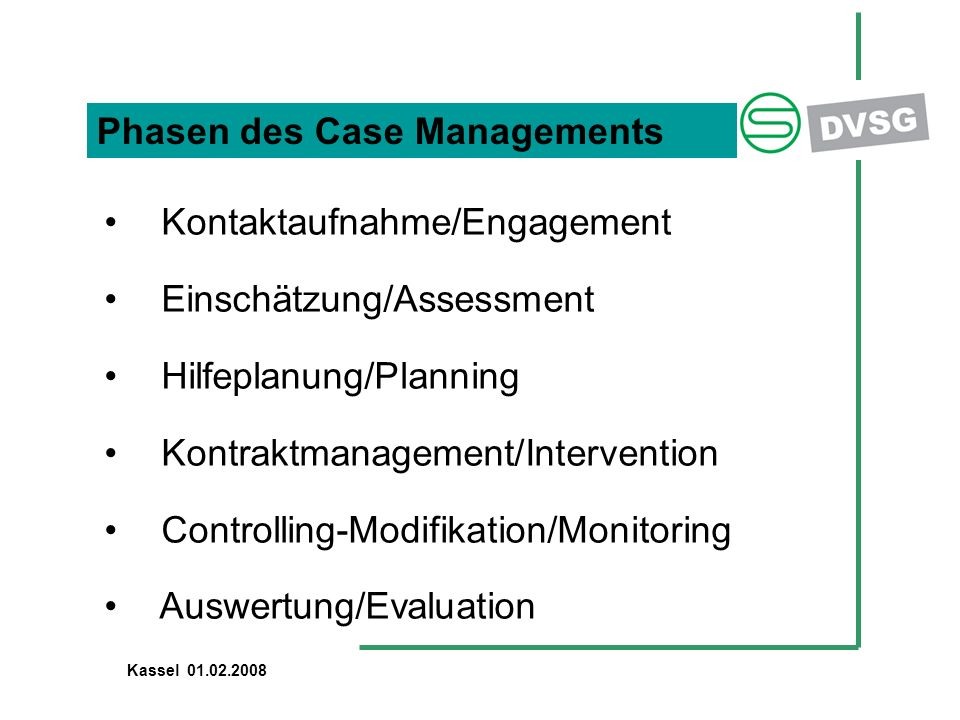 Phasen des Case Managements Kontaktaufnahme/Engagement Einschätzung/Assessment Hilfeplanung/Planning Kontraktmanagement/Intervention Controlling-Modifikation/Monitoring Auswertung/Evaluation Kassel 01.02.2008