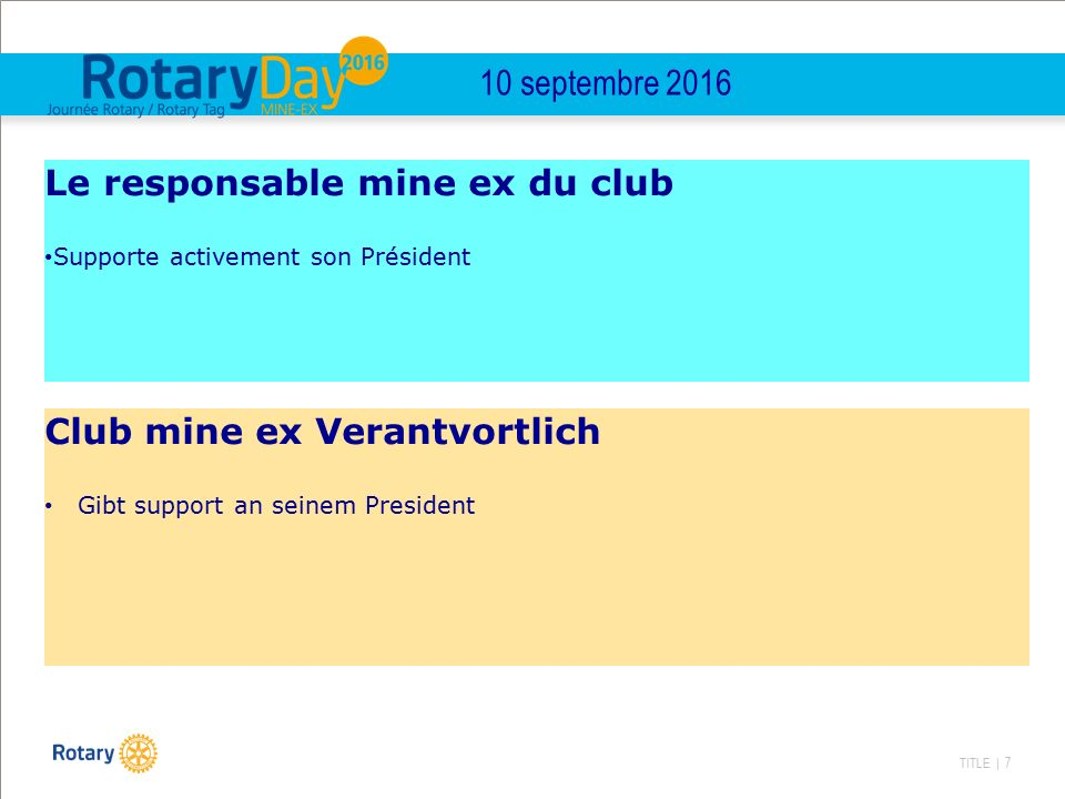 TITLE | 7 10 septembre 2016 Le responsable mine ex du club Supporte activement son Président Club mine ex Verantvortlich Gibt support an seinem President