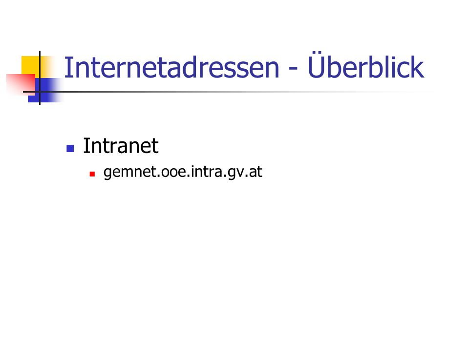 Internetadressen - Überblick Intranet gemnet.ooe.intra.gv.at