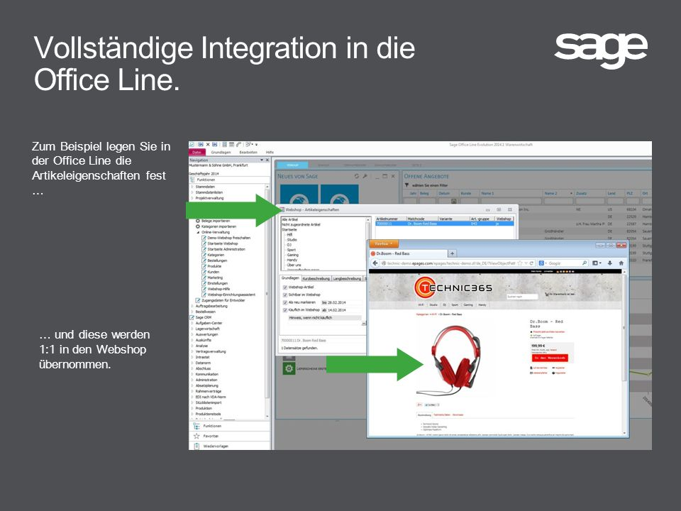 Vollständige Integration in die Office Line.