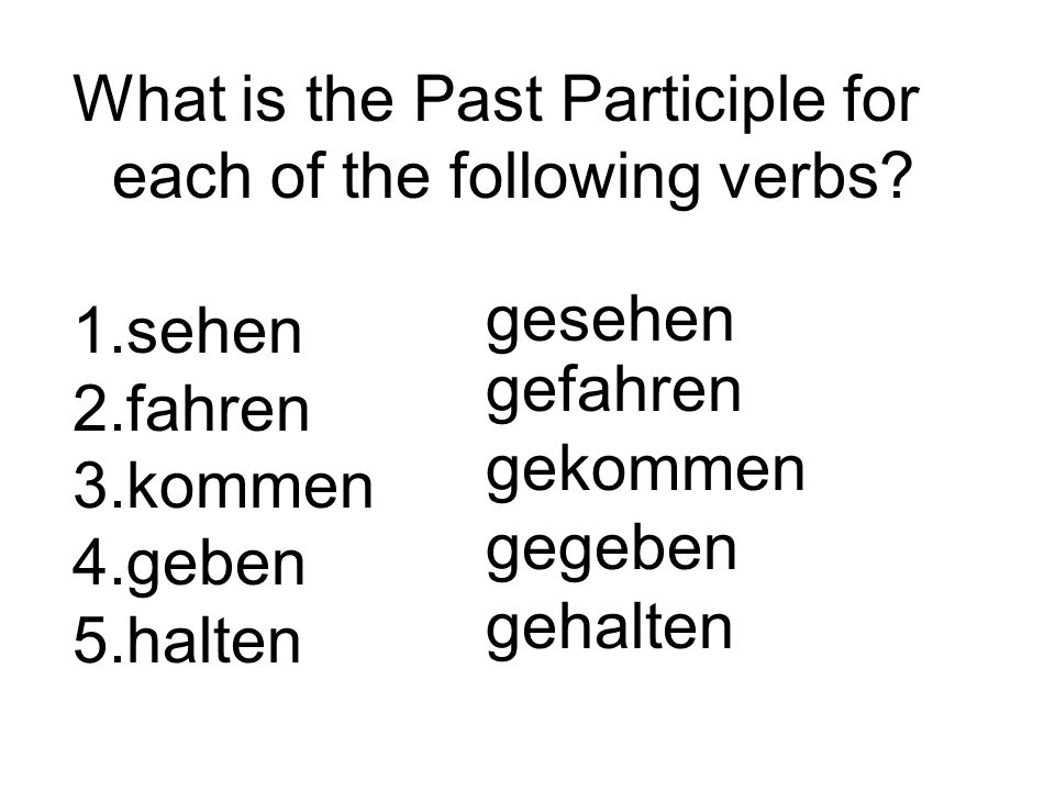 What is the Past Participle for each of the following verbs.