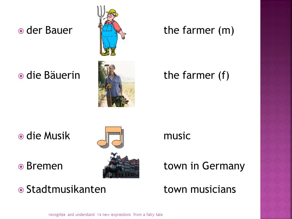  der Bauerthe farmer (m)  die Bäuerinthe farmer (f)  die Musikmusic  Brementown in Germany  Stadtmusikantentown musicians recognize and understand 14 new expressions from a fairy tale