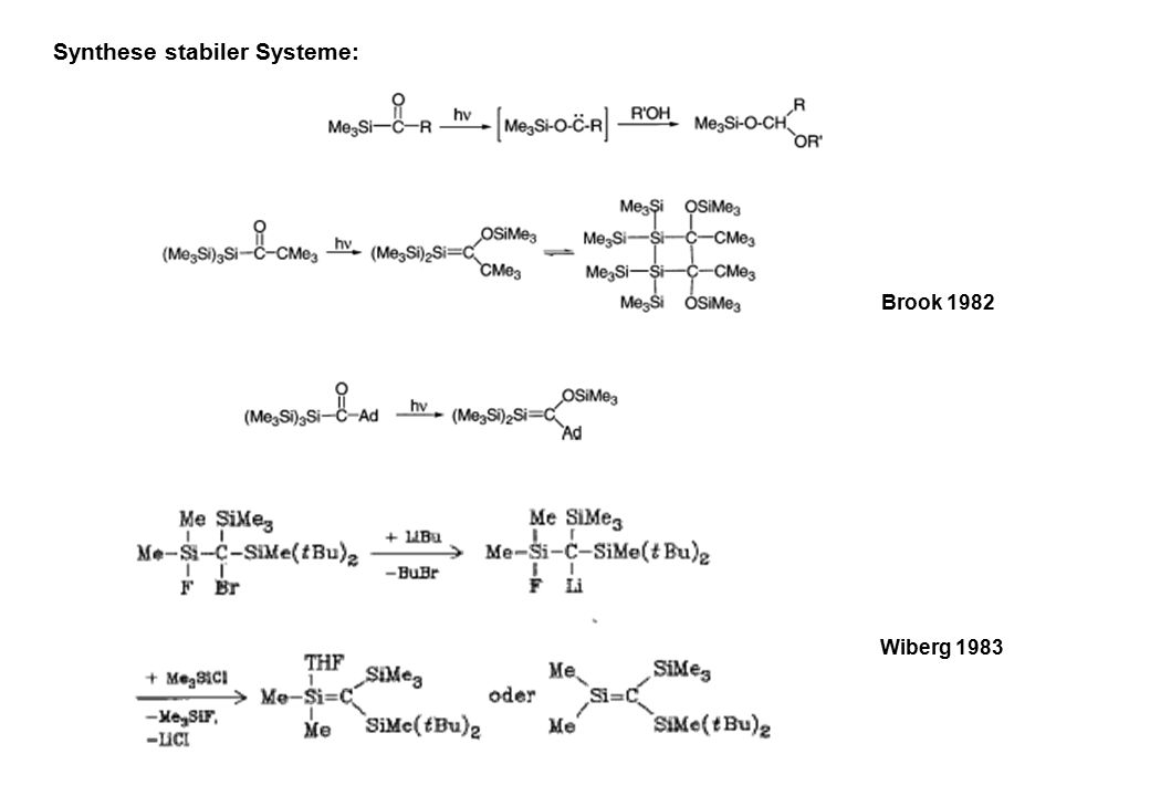 Brook 1982 Wiberg 1983 Synthese stabiler Systeme: