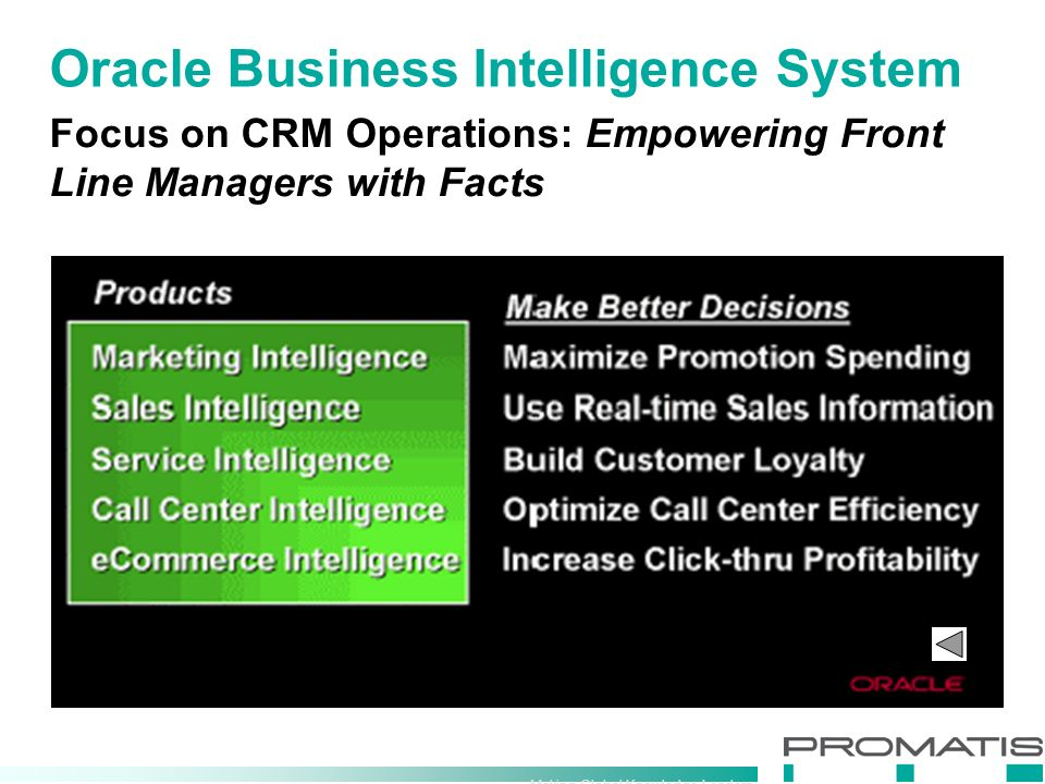 Making Global Knowledge Leaders Oracle Business Intelligence System Focus on CRM Operations: Empowering Front Line Managers with Facts