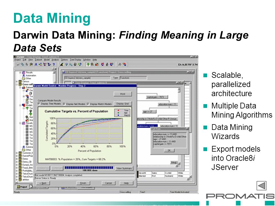 Making Global Knowledge Leaders Darwin Data Mining: Finding Meaning in Large Data Sets Data Mining Scalable, parallelized architecture Multiple Data Mining Algorithms Data Mining Wizards Export models into Oracle8i JServer