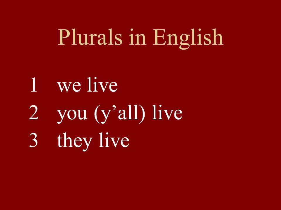 Plurals in English 1we live 2you (y'all) live 3 they live