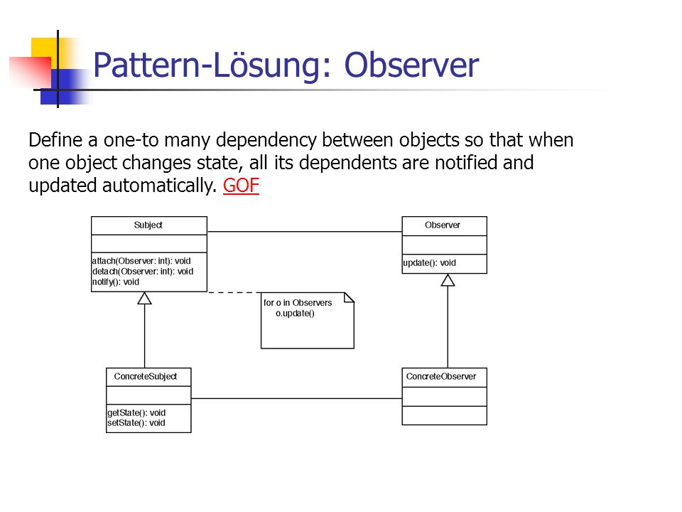 Pattern-Lösung: Observer Define a one-to many dependency between objects so that when one object changes state, all its dependents are notified and updated automatically.